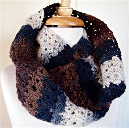 Infinity Scarf Snood browns and greys