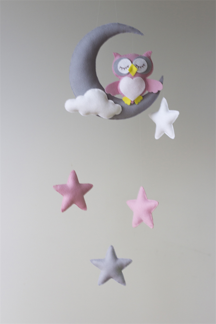 pink owl moon stars baby mobile nursery decor merino felt haven and willow. Black Bedroom Furniture Sets. Home Design Ideas