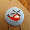 Red helicopter fabric covered button clip bookmark
