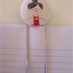 Ballerina fabric covered button clip bookmark