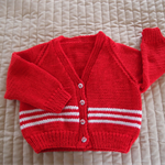 SIZE 2 yrs - Hand knitted cardigan in red & white: boy, washable, acrylic wool