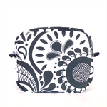 Toiletry Bag // Makeup Zipper Pouch in Navy Blue and White Floral