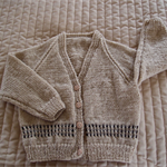 SIZE 2-3 yrs -cardigan in camel & dark brown: Acrylic Unisex, Washable
