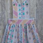 Vintage pinafore - size 4 - girls dress - pastel aztec stripe print