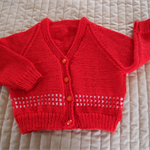 Size 1-2 yrs hand knitted cardigan in wine & white: Unisex, OOAK, washable