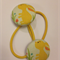 Yellow Bunny fabric button hairties