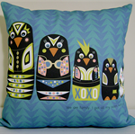 "Cushion Cover - ""We are Family"" cute yellow and black penguins on blue"