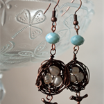 Delightful on trend blue jade vintage rustic birds nest earrings