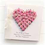 Personalised Engagement card keepsake gift boxed mixed pink paper roses heart