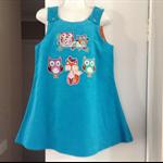 Girls Winter Aqua Corduroy Pinafore with applique Owls & fox. Sizes 00 to 7