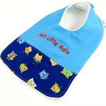 Bib - Pop's Little Mate, Cute Owl Cotton Fabric, Bamboo Toweling,Snap Fastened.