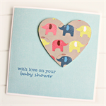 Baby Shower card baby boy or girl elephants paper heart newborn