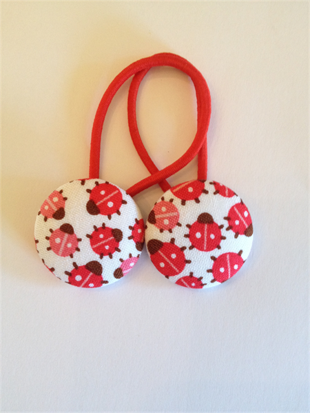 Ladybird fabric button hairties