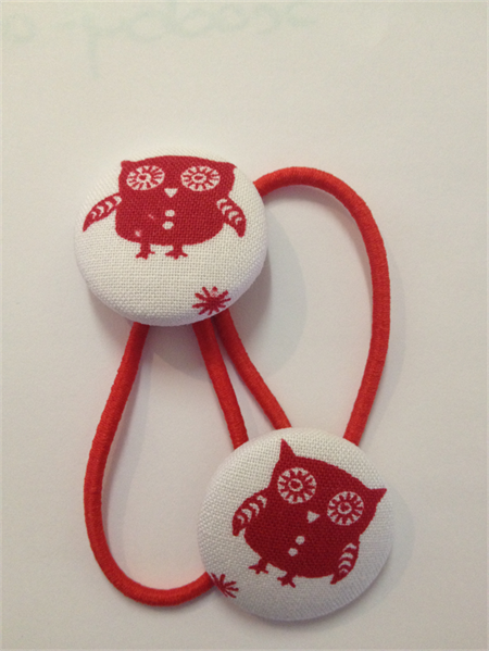 Red Owl fabric button hairties