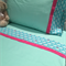 Handmade mint with whale trim 3 piece cot or toddler bed sheet set. Cotton