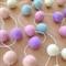 Felt Ball Garland in Light Pink, Lilac, Peach, Lemon, Pale Mint