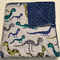 Handmade blue creature  minky backed cot size baby blanket 110x140cm
