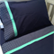 Handmade navy with star trim 3 piece cot or toddler bed sheet set. Cotton