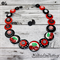 With a Cherry on Top - Red Black White - Swirls - Button Necklace and Earrings