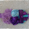 Cluster Flower Headband Purple Blue,chiffon Newborns to girls