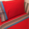 Handmade red with chevron trim 3 piece cot or toddler bed sheet set. Cotton