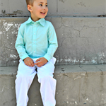 boys shirt - mint long sleeved shirt