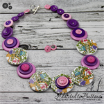 What a Hoot - Purple Pink owls - Button Necklace - Button Jewellery - Earrings