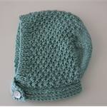 Mint Textured Bonnet - Size 3-6 months - Hand knitted in pure wool