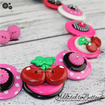 With a Cherry on Top - Pink Black White - spots - Button Necklace and Earrings
