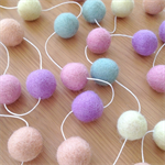 Felt Ball Garland in Light Pink, Lilac, Peach, Lemon, Pale Mint