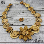 Crazy Daisy in Wood - Wired - Button Necklace - Button Jewellery - Earrings