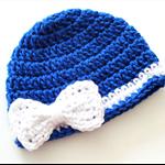 Crochet Bow Beanie - 3-6 months