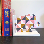 Geometric elephant bookends