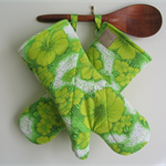 Lime Green Retro Flower. Eco friendly Oven Mitts