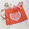 Half Apron Spots & Stripes orange/white - womens lined apron with heart pocket