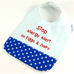 Allergy Alert Bib - No Egg & Dairy on Cotton Fabric, Toweling, Snap fastened