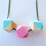 Pastel Pink & mint Geometric Necklace