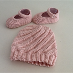 Hand Knit Wool Baby Beanie Hat & Mary-Jane Bootie Shoes, Pink