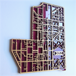 Laser cut, street map of Carlton 3053, Victoria in MDF & coloured acrylic.
