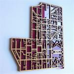Carlton 3053. Laser cut, street map in MDF & coloured acrylic.