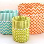 SET of Three 'REVERSIBLE FABRIC BASKETS' 
