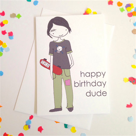Happy Birthday Skater Dude Card. Free Post.