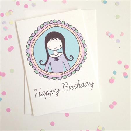Happy Birthday Girl In Frame Card. Free Post.