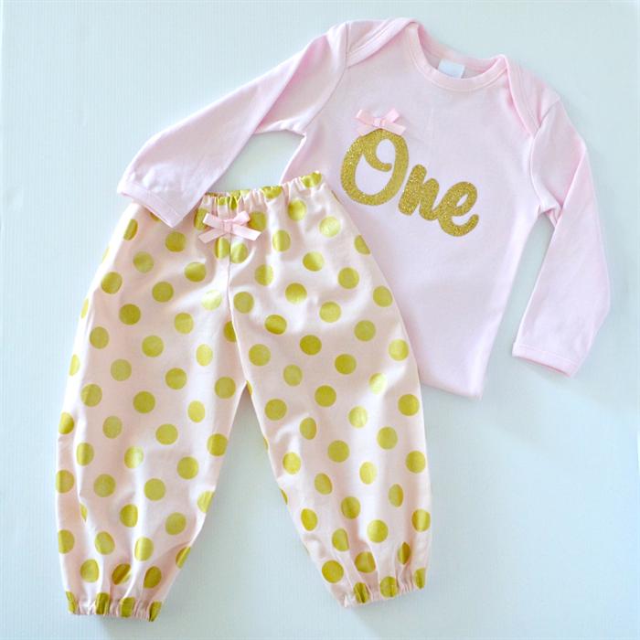 f1e3f574e Pink & Gold 1st Birthday / Cake Smash Outfit - Bodysuit & Harem Pants |  Little Miss Charlie's Treasures | madeit.com.au