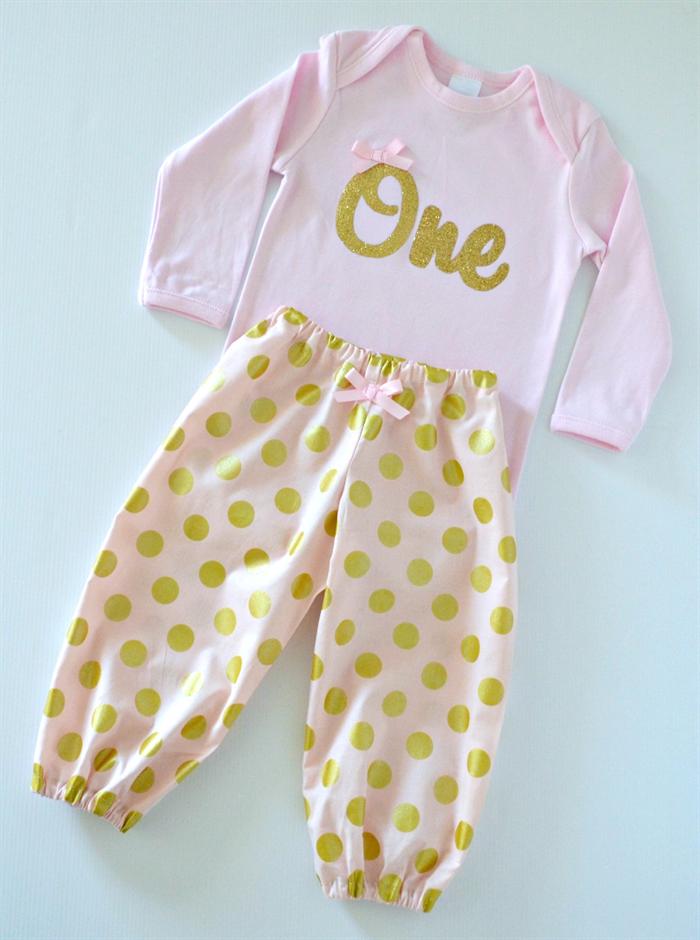 0e3350cf5 ... Pants · Pink & Gold 1st Birthday / Cake Smash Outfit - Bodysuit & Harem  ...