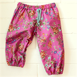 baby girl play pants | hot pink cotton floral | gift | harems