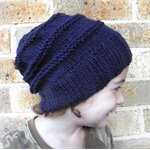 Custom colour hat toddler child slouch winter beanie handknit navy blue boy girl