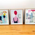 3 x La Rinascente Italian Beach Vintage Framed Poster Art Prints Box Frames