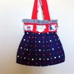 Beach tote bag, nautical ,pleated fabric bag blue red white.