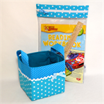 SET - Fabric Basket (15cm) & See Through Storage Pocket.  Turquoise Blue Spots